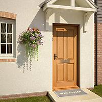 4 panel Raised moulding White oak veneer LH & RH External Front Door, (H)1981mm (W)762mm