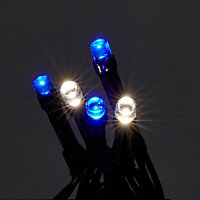 400 Blue & ice white LED String lights Green cable