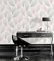 Rasch Grey & pink Feather Glitter effect Embossed Wallpaper