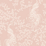 Rasch Blush pink & white Peacock Glitter effect Textured Wallpaper