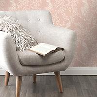 Rasch Blush pink & white Peacock Glitter effect Textured Wallpaper