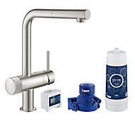 Grohe Blue Pure Supersteel Stainless steel effect Kitchen Side lever pull out Mixer tap