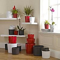 Glazed White Ceramic Plant pot (Dia)24cm