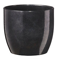 Tiwlip Glazed Brushed Black Ceramic Mottled Plant pot (Dia)33cm