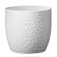 Kiruna Brushed White Ceramic Plant pot (Dia)14cm