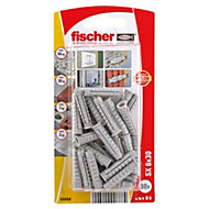 Fischer Nylon Solid wall plug, Pack of 30