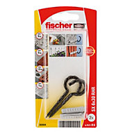 Fischer Nylon plug (Dia)6mm (L)30mm, Pack of 2
