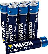 Varta Longlife Power AAA Alkaline Battery, Pack of 8