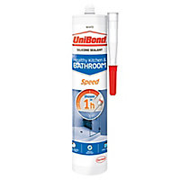 UniBond Speed Mould resistant White Kitchen & bathroom Silicone-based Sanitary sealant, 300ml