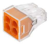 Wago 773 series Orange 24A 4 way Wire connector, Pack of 100
