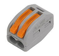 Wago 222 series Grey 32A 2 way In-line wire connector, Pack of 50