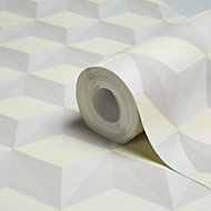A.S. Creation Life Beige, grey & yellow Geometric Glitter effect Smooth Wallpaper
