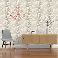 A.S. Creation Xray Beige & cream Leaf Pearl effect Embossed Wallpaper