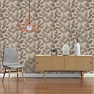 A.S. Creation Xray Beige & brown Leaf Pearl effect Embossed Wallpaper