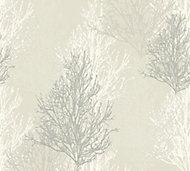 A.S. Creation Cream & grey Tree Glitter effect Wallpaper