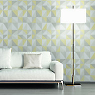 A.S. Creation Life 4 Grey & yellow Geometric triangles Glitter effect Embossed Wallpaper
