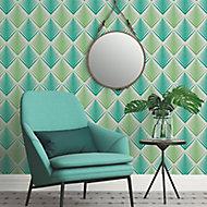 A.S. Creation Life 4 Cream & green Geometric Embossed Wallpaper