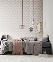 A.S. Creation Beige & pink Floral Embossed Wallpaper