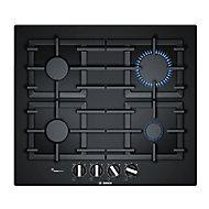 Bosch PPP6A6B90 4 Burner Black Tempered glass Gas Hob, (W)590mm