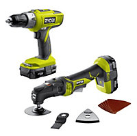 Ryobi One+ Cordless 18V 1.3Ah piece Combi drill & multi tool twin pack R18CK2G-LL13S