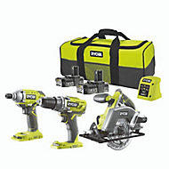 Ryobi ONE+ Cordless 18V 2Ah ONE+ Brushed Drill, impact driver & circular saw 2 batteries with 6 accessories R18PDIDCSP-220S