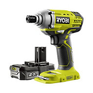 Ryobi ONE+ Cordless 18 2Ah ONE+ Brushed Impact driver 1 battery with 5 accessories R18IDP-120S