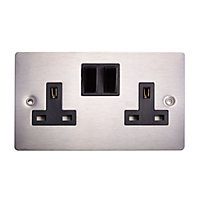 Holder 13A Stainless steel effect Double Switched Socket