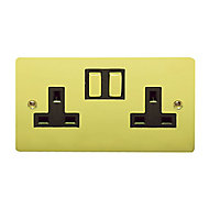 Holder 13A Brass effect Double Switched Socket