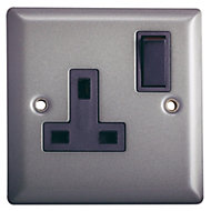Volex 13A Grey Pewter effect Single Switched Socket