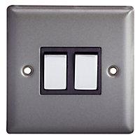 Holder 10A 2 way Matt grey pewter effect Double Light Switch