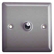 Holder 10A 2 way Matt grey pewter effect Single Toggle Switch
