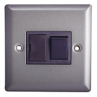 Holder 13A Grey Pewter effect Single Switch