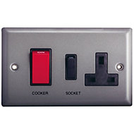 Holder 45A Grey Pewter effect Cooker Switch