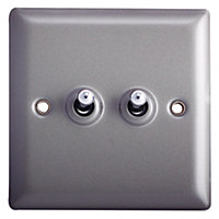 Holder 10A 2 way Grey Pewter effect Single Light Switch