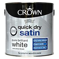 Crown Breatheasy Pure brilliant white Satin Emulsion paint 2.5L