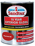 Sandtex Pillar box red Gloss Metal & wood paint, 0.75L