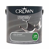 Crown Breatheasy City break Silk Emulsion paint 2.5L
