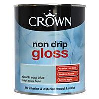 Crown Duck egg blue Gloss Wood & metal paint 0.75L