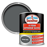 Sandtex 10 year Smokey grey High gloss Metal & wood paint, 0.75L