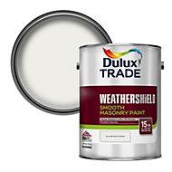 Dulux Trade Weathershield Pure brilliant white Smooth Masonry paint, 5L
