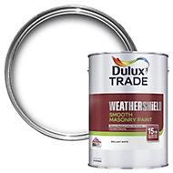 Dulux Trade Weathershield Pure brilliant white Smooth Masonry paint 5L