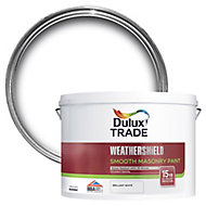 Dulux Trade Weathershield Pure brilliant white Smooth Masonry paint, 10L