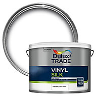 Dulux Trade Pure brilliant white Silk Emulsion paint, 10L