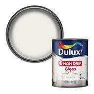 Dulux Non-drip Pure brilliant white Gloss Metal & wood paint, 0.75L