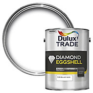 Dulux Trade Diamond Pure brilliant white Eggshell Metal & wood paint, 5L