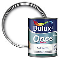 Dulux Once Pure brilliant white Gloss Metal & wood paint, 0.75L