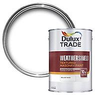 Dulux Trade Weathershield Pure brilliant white Textured Masonry paint, 5L