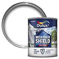 Dulux Weathershield Pure brilliant white Gloss Metal & wood paint, 0.75L