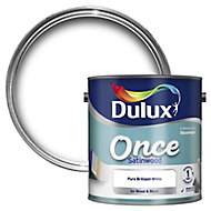 Dulux Once Pure brilliant white Satinwood Metal & wood paint, 2.5L