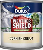 Dulux Weathershield Cornish cream Smooth Masonry paint 0.25L Tester pot